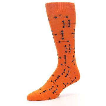 Image of Orange Navy Connected Dots Men's Dress Socks (side-2-09)