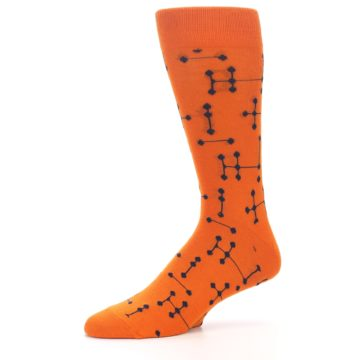 Image of Orange Navy Connected Dots Men's Dress Socks (side-2-10)