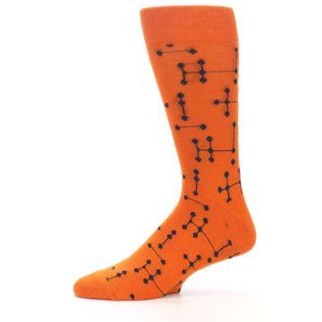 Image of Orange Navy Connected Dots Men's Dress Socks (side-2-11)