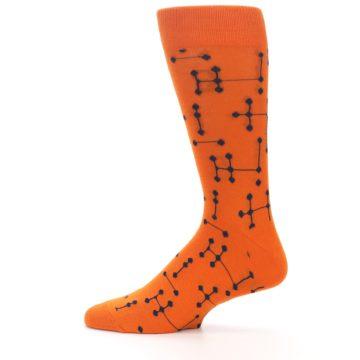 Image of Orange Navy Connected Dots Men's Dress Socks (side-2-12)