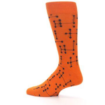 Image of Orange Navy Connected Dots Men's Dress Socks (side-2-13)
