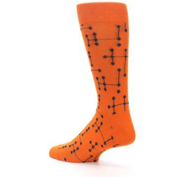 Image of Orange Navy Connected Dots Men's Dress Socks (side-2-back-14)