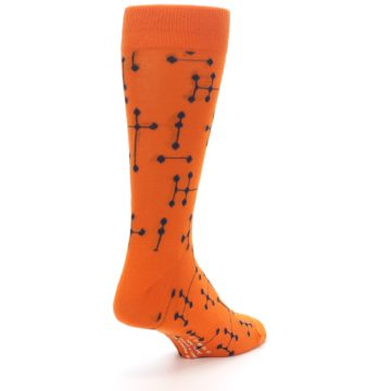 Image of Orange Navy Connected Dots Men's Dress Socks (side-1-back-21)