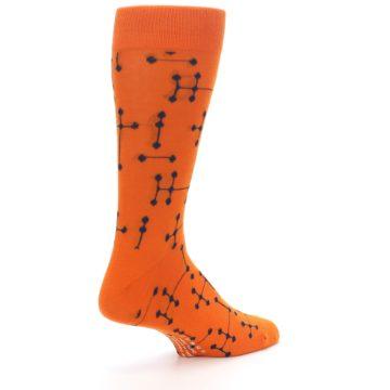 Image of Orange Navy Connected Dots Men's Dress Socks (side-1-back-22)
