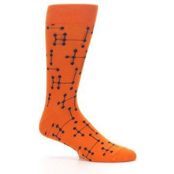 Image of Orange Navy Connected Dots Men's Dress Socks (side-1-25)