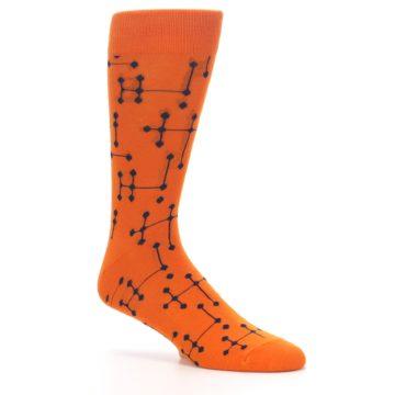 Image of Orange Navy Connected Dots Men's Dress Socks (side-1-26)