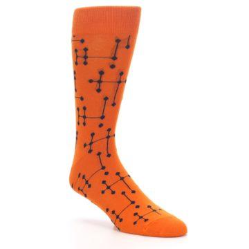 Image of Orange Navy Connected Dots Men's Dress Socks (side-1-27)