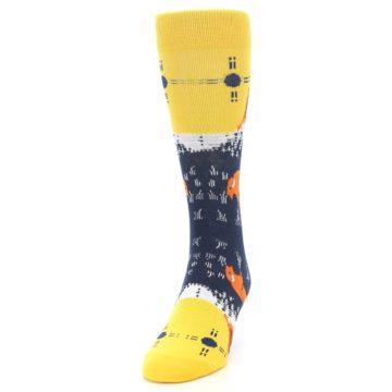 Image of Yellow Navy Orange Bison Men's Dress Socks (side-2-front-06)