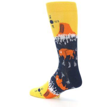 Image of Yellow Navy Orange Bison Men's Dress Socks (side-2-back-14)