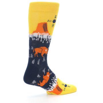 Image of Yellow Navy Orange Bison Men's Dress Socks (side-1-23)