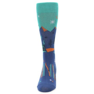 Image of Blue Green Cabin in Mountains Men's Dress Socks (front-05)