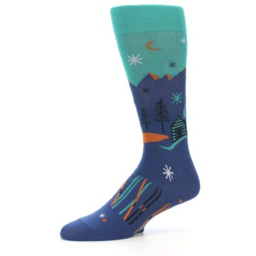Image of Blue Green Cabin in Mountains Men's Dress Socks (side-2-10)