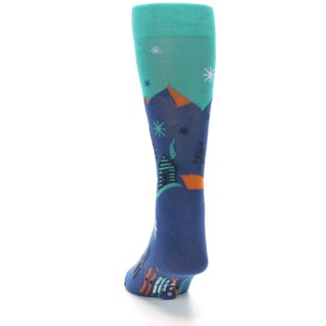 Image of Blue Green Cabin in Mountains Men's Dress Socks (back-17)