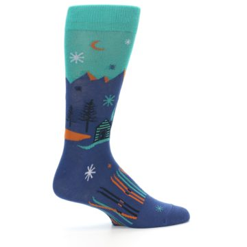 Image of Blue Green Cabin in Mountains Men's Dress Socks (side-1-24)
