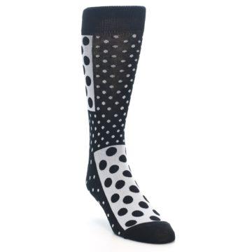 Image of Black White Polka Dots Men's Dress Socks (side-1-front-02)