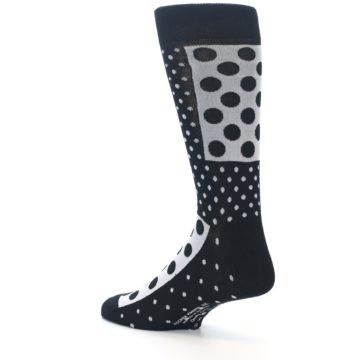 Image of Black White Polka Dots Men's Dress Socks (side-2-back-14)