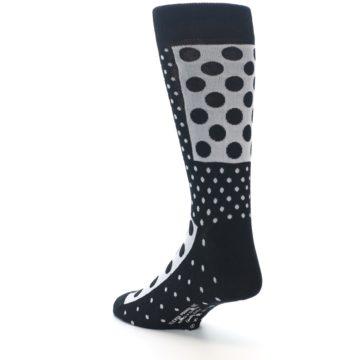 Image of Black White Polka Dots Men's Dress Socks (side-2-back-15)