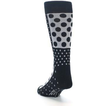 Image of Black White Polka Dots Men's Dress Socks (side-2-back-16)
