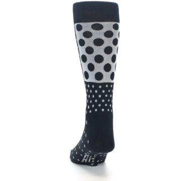 Image of Black White Polka Dots Men's Dress Socks (back-17)