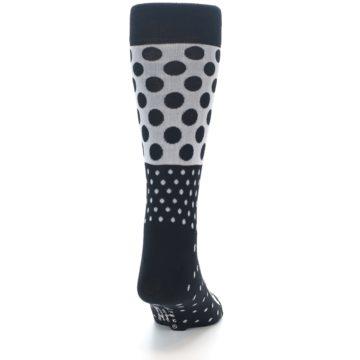 Image of Black White Polka Dots Men's Dress Socks (back-19)