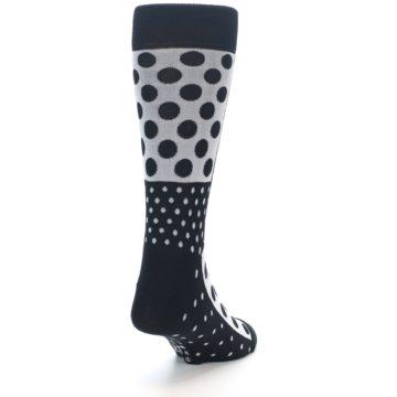 Image of Black White Polka Dots Men's Dress Socks (side-1-back-20)
