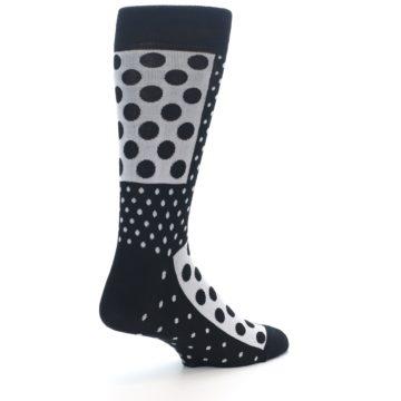 Image of Black White Polka Dots Men's Dress Socks (side-1-back-22)