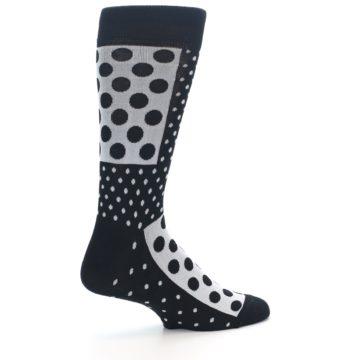 Image of Black White Polka Dots Men's Dress Socks (side-1-23)