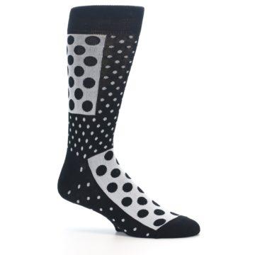 Image of Black White Polka Dots Men's Dress Socks (side-1-25)