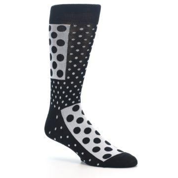 Image of Black White Polka Dots Men's Dress Socks (side-1-26)