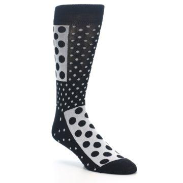 Image of Black White Polka Dots Men's Dress Socks (side-1-27)