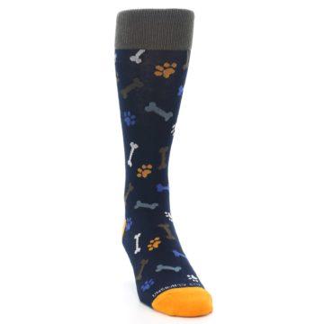 Image of Navy Orange Dog Paws & Bones Men's Dress Socks (side-1-front-03)