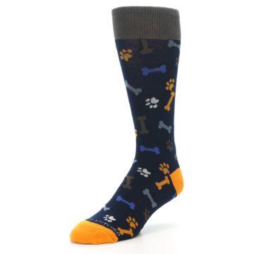 Image of Navy Orange Dog Paws & Bones Men's Dress Socks (side-2-front-08)
