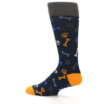 Image of Navy Orange Dog Paws & Bones Men's Dress Socks (side-2-13)