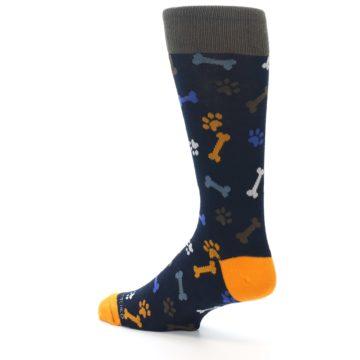 Image of Navy Orange Dog Paws & Bones Men's Dress Socks (side-2-back-14)