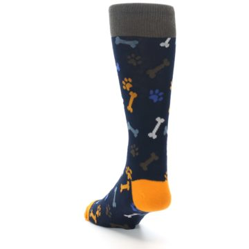 Image of Navy Orange Dog Paws & Bones Men's Dress Socks (side-2-back-16)