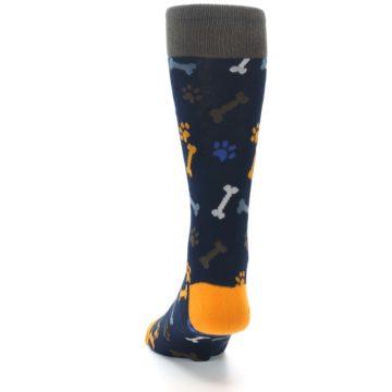 Image of Navy Orange Dog Paws & Bones Men's Dress Socks (back-17)