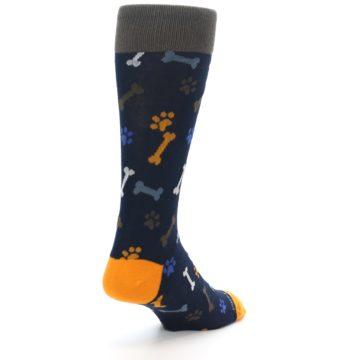 Image of Navy Orange Dog Paws & Bones Men's Dress Socks (side-1-back-21)