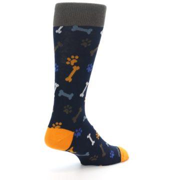 Image of Navy Orange Dog Paws & Bones Men's Dress Socks (side-1-back-22)