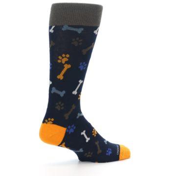 Image of Navy Orange Dog Paws & Bones Men's Dress Socks (side-1-23)