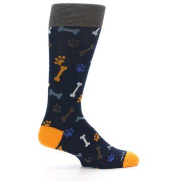 Image of Navy Orange Dog Paws & Bones Men's Dress Socks (side-1-24)