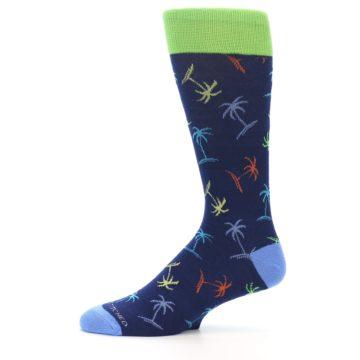 Image of Navy Multi-Color Palm Trees Men's Dress Socks (side-2-11)