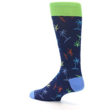 Image of Navy Multi-Color Palm Trees Men's Dress Socks (side-2-back-14)