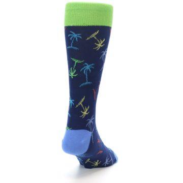 Image of Navy Multi-Color Palm Trees Men's Dress Socks (side-1-back-20)