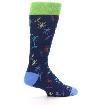 Image of Navy Multi-Color Palm Trees Men's Dress Socks (side-1-23)