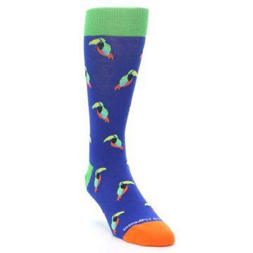 Image of Blue Green Toucan Bird Men's Dress Socks (side-1-front-02)