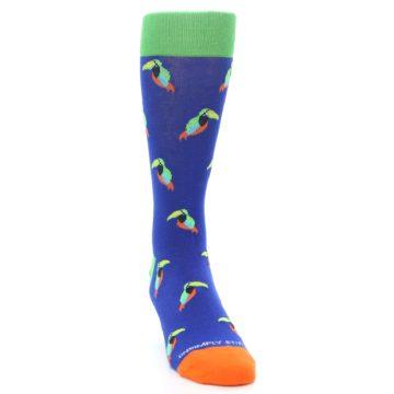 Image of Blue Green Toucan Bird Men's Dress Socks (side-1-front-03)