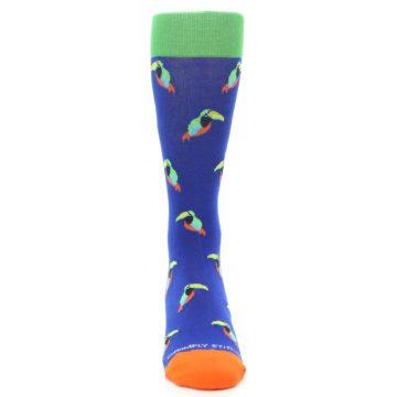 Image of Blue Green Toucan Bird Men's Dress Socks (front-04)