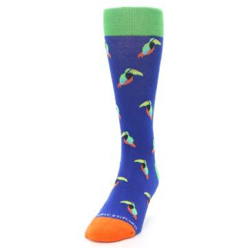 Image of Blue Green Toucan Bird Men's Dress Socks (side-2-front-06)