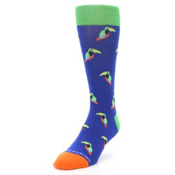 Image of Blue Green Toucan Bird Men's Dress Socks (side-2-front-07)