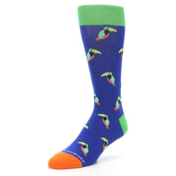 Image of Blue Green Toucan Bird Men's Dress Socks (side-2-front-08)